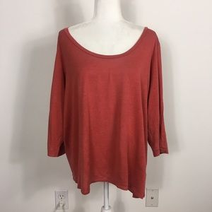 Eileen Fisher Silk Red 3/4 Length Sleeve Top